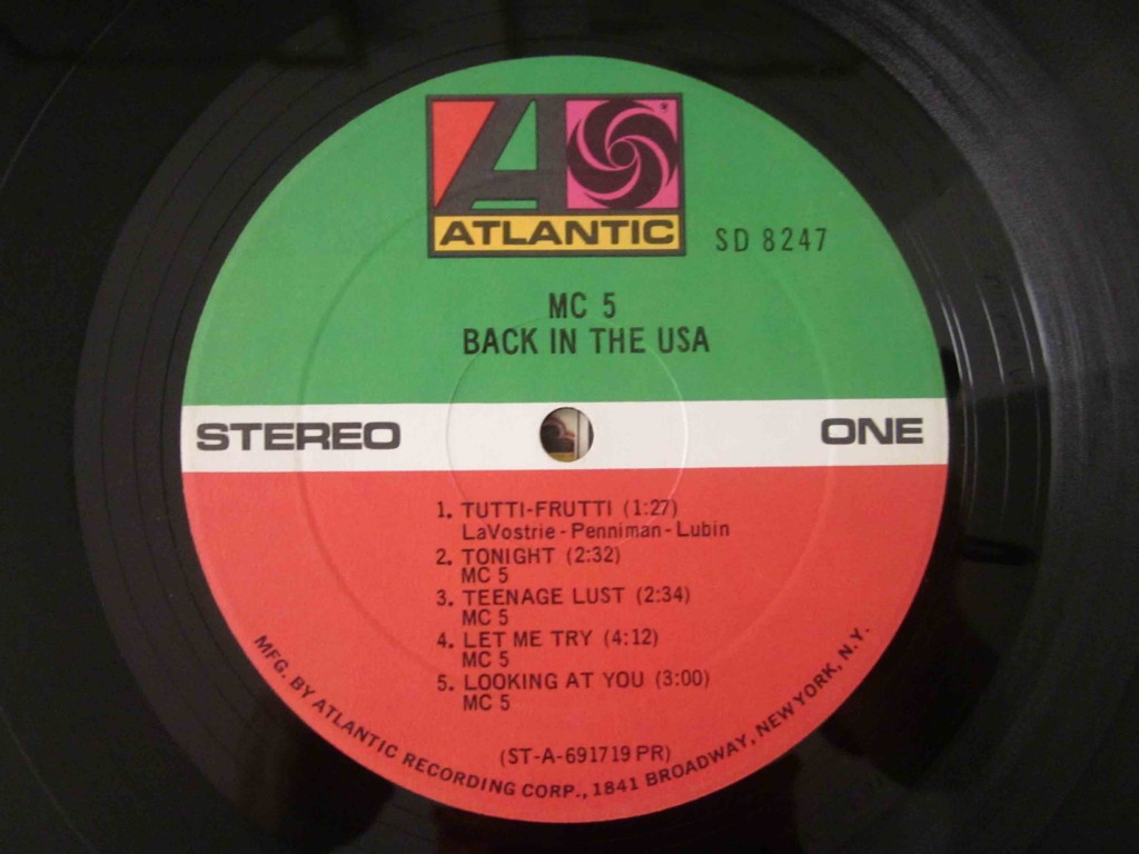Back In The USA MC5 label