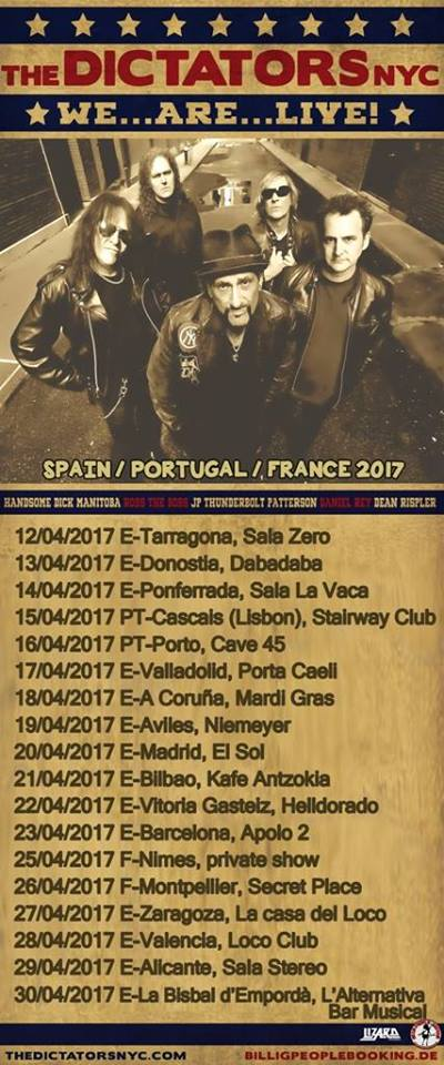 Conciertos The Dictators 2017 en España