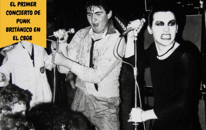 primer concierto de punk británico en el CBGB OMFUG de New York