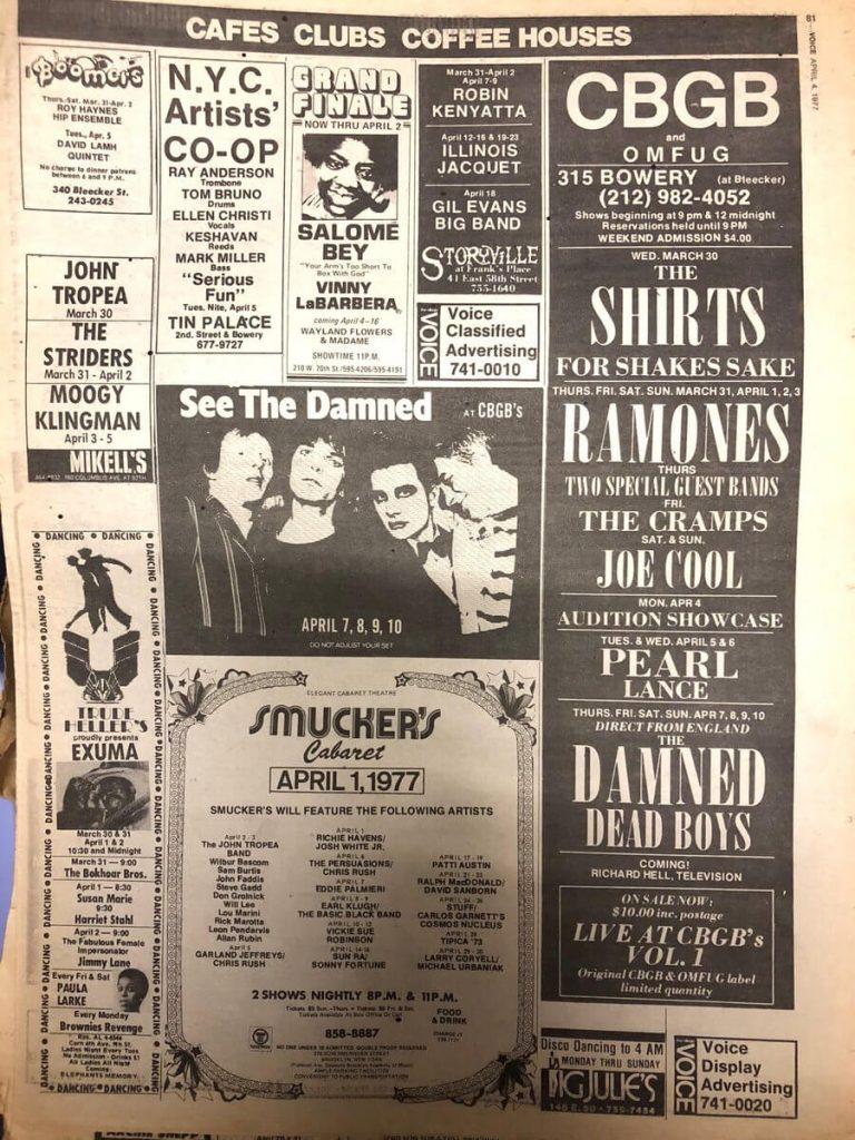 The Damned en el CBGB 1977 New York