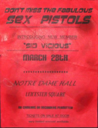 curiosidades sex pistols notre dame hall concert